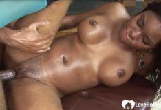 Black chick rides a nice hard BBC